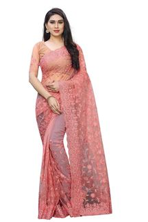 Picture of Exotic Pink Color Net Designer saree