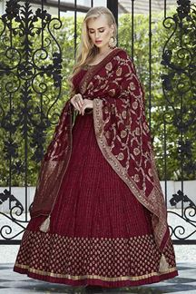 Picture of Maroon Anarkali Suit In Georgette With Brocade Dupatta