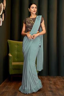 Picture of Flattering Green & Brown Colored Partywear Lycra Saree