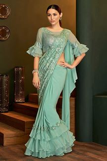 Picture of Gorgeous Sea Green Colored Partywear Lycra Saree
