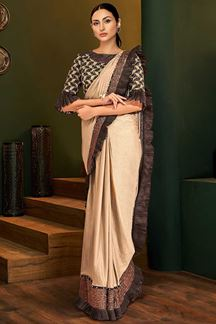 Picture of Pleasant Beige & Brown Colored Partywear Lycra Saree
