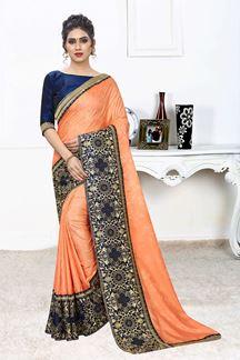 Picture of Light Orange Jacquard Silk Saree