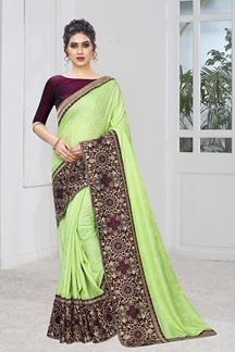 Picture of Light Pista Jacquard Silk Saree