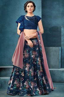 Picture of Mystical Floral Navy Blue Designer Lehenga Choli