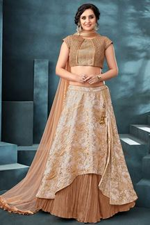 Picture of Look Incredible In Beige Designer Lehenga Choli