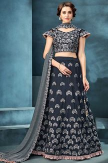Picture of Adorable Navy Blue Colored Embroidered Lehenga Choli