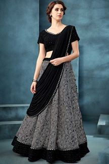 Picture of Dazzling Grey & Black Colored Designer Embroidered Lehenga Choli