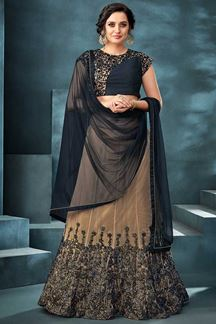 Picture of Charming Navy Blue & Beige Colored Designer Lehenga Choli