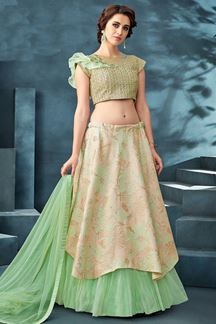 Picture of Stunning Beige & Sea green Colored Partywear Lehenga Choli