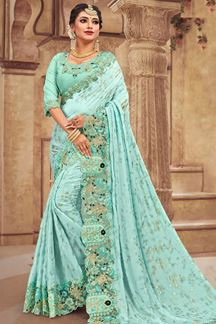 Picture of Blue Designer Satin Georgette Saree