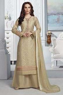 Picture of Beige Colored Tissue Chanderi Straight Fit Palazzo Suit