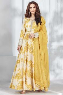 Picture of Cream Color Chanderi Silk Anarkali Suit