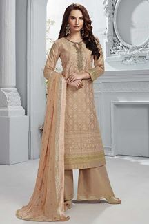 Picture of Peach Colored Tissue Chanderi Straight Fit Palazzo Suit