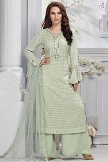Picture of Mint Green Georgette Straight fit Palazzo