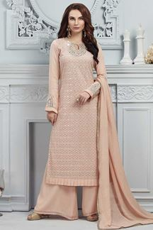 Picture of Peach Georgette Straight fit Palazzo
