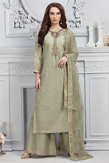 Picture of Green Colored Chanderi Silk Straight Fit Palazzo Suit