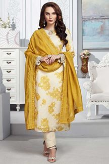 Picture of Chanderi Silk Cream Colored Straight Cut Suit