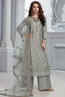 Picture of Grey Colored Chanderi Silk Straight Fit Palazzo Suit