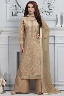 Picture of Beige Colored Tissue Chanderi Straight Cut with Palazzo