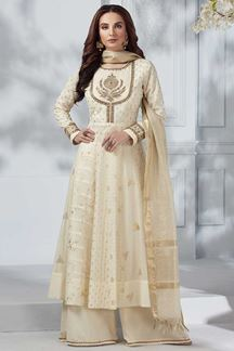 Picture of Chanderi Silk Cream Anarkali Palazzo Suit
