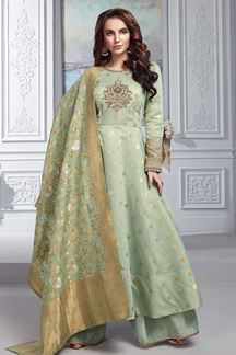 Picture of Mint Green Chanderi Silk Anarkali Palazzo Suit