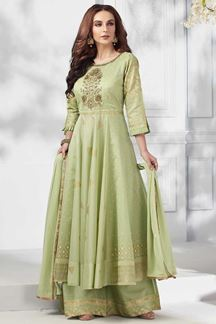 Picture of Green Chanderi Silk Anarkali Palazzo Suit