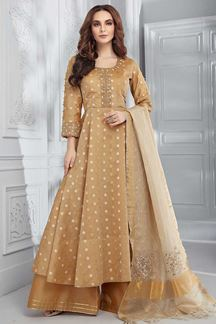 Picture of Chikoo Colored Chanderi Silk Anarkali Palazzo Suit
