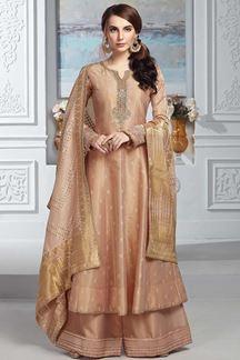 Picture of Tissue Chanderi Peach Color Anarkali Palazzo Suit