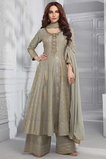 Picture of Grey Colored Chanderi Silk Anarkali Palazzo Suit