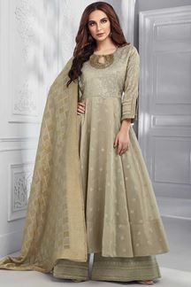 Picture of Tissue Chanderi Beige Color Anarkali Palazzo Suit