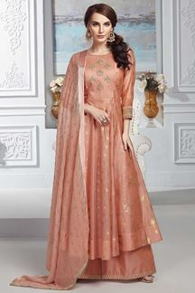 Picture of Peach Colored Chanderi Silk Anarkali Palazzo Suit