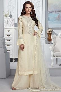 Picture of Cream Colored Chanderi Silk Straight Cut  Palazzo Suit