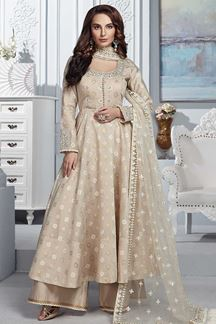 Picture of Anarkali Cream Palazzo Chanderi Silk Suit