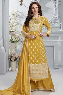 Picture of Mustard Color Chanderi Silk Palazzo Suit