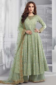 Picture of Anarkali Mint Green Palazzo Chanderi Silk Suit