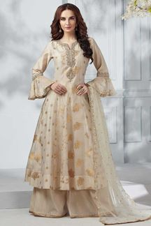 Picture of Cream Color Chanderi Silk Anarkali Palazzo Suit
