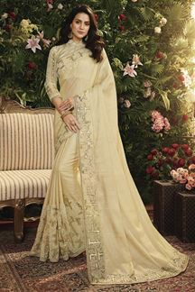 Picture of Cream Color Viscose Tussar Satin Silk Designer Party Wear Saree