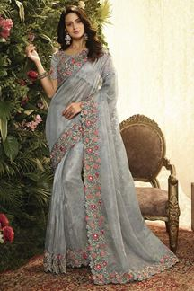 Picture of Grey Color Organza Designer Party Wear Saree