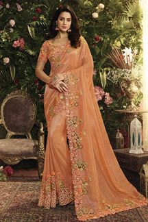 Picture of Orange Color Viscose Tissue Designer Party Wear Saree