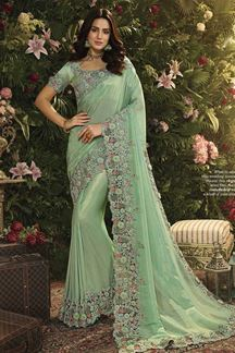 Picture of Sea Green Viscose Tissue Designer Party Wear Saree