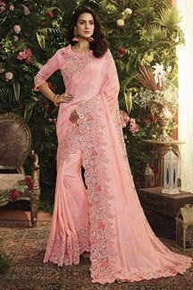 Picture of Light Pink Color Pandora Silk Designer Party Wear Saree