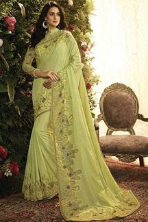 Picture of Pista Color Pandora Silk Designer Party Wear Saree