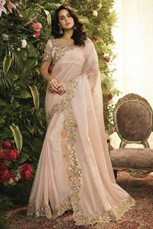 Picture of Baby Pink Color Organza Designer Party Wear Saree