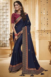 Picture of Navy Blue & Maroon Designer Fancy Party Wear Silk Saree