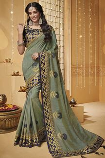 Picture of Green & Navy Blue Designer Fancy Party Wear Silk Saree