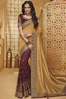 Picture of Maroon & Gold Designer Fancy Party Wear Silk Saree