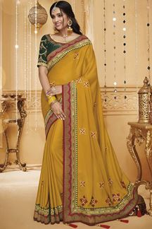 Picture of Yellow & Green Designer Fancy Party Wear Silk Saree