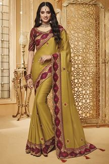 Picture of Olive Green & Maroon Designer Fancy Party Wear Silk Saree