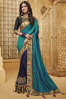 Picture of Blue Designer Fancy Party Wear Silk Saree