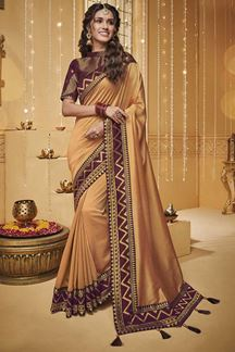 Picture of Orange Designer Fancy Party Wear Silk Saree